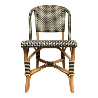 Drucker Style Vintage Woven Leather Bamboo Bistro Chair For Sale