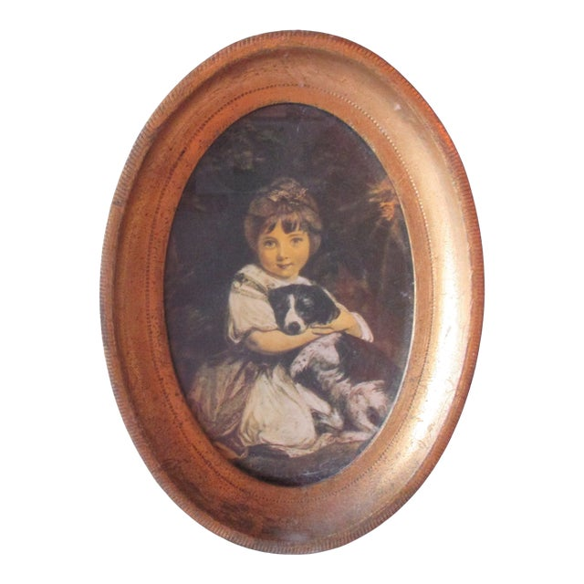 Petite Oval Florentine Print of Girl and Dog For Sale