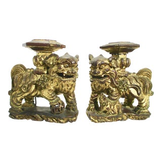 Chinese Gilt Architectural Foo Dogs 19th Century - A Pair For Sale