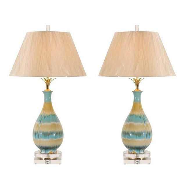 Chic Pair of Large-Scale Drip Glaze Ceramic Lamps in Caramel and Sultanabad Blue For Sale - Image 11 of 11