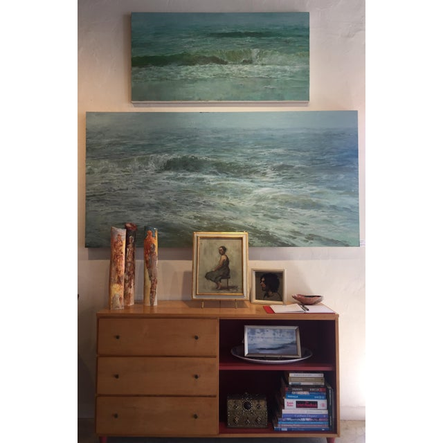 "Contemporary Beckham Oil Painting ""September Sea"" Large Blue Green Seascape For Sale - Image 3 of 7"