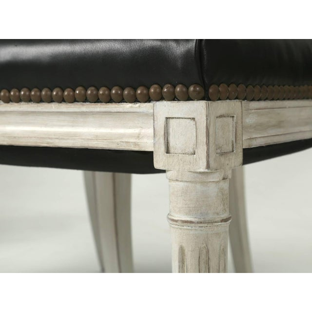 French Louis XVI Style Dining Chairs in Black Leather and Distressed White Paint - Set of 6 For Sale In Chicago - Image 6 of 12