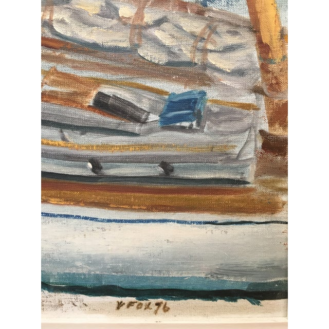 Paint Vintage Mid Century Impressionist Oil Painting Seascape For Sale - Image 7 of 11