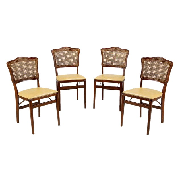 Set of Four Mahogany, Cane & Leather Regency Folding Chairs For Sale