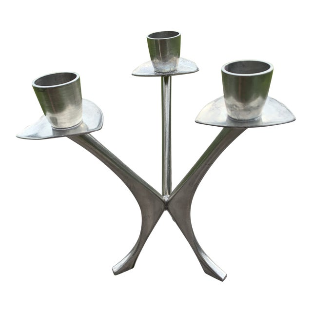 Vintage Norwegian Pewter 3 Branch Candle Holder by Brodrene Mylius 1950's For Sale