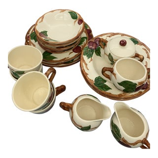 Franciscan's Apple Dinnerware/ Luncheon Plates, Salad Plates, Cereal Bowls, Rimmed Soup Bowls, Saucers, Mini Mugs, Creamer, Sugar Bowls For Sale