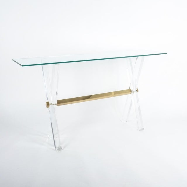 Lucite and Brass X Frame Console Table, Circa 1970 For Sale - Image 13 of 13