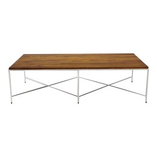 Mid-Century Modern Double X-Base Solid Top Chrome Base Coffee Table For Sale