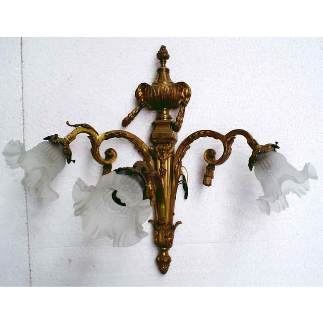 Bronze Three Arm Sconces - A Pair - Image 3 of 3