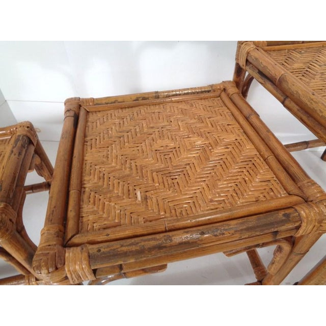 Mid Century Organic Modern Bamboo Side Nesting Tables For Sale - Image 9 of 11