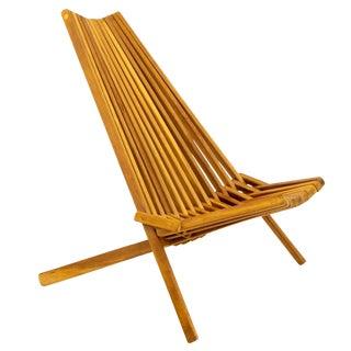 Vintage Mid Century Hans Wegner Style Danish Modern Teak Folding Slat Side Chair For Sale