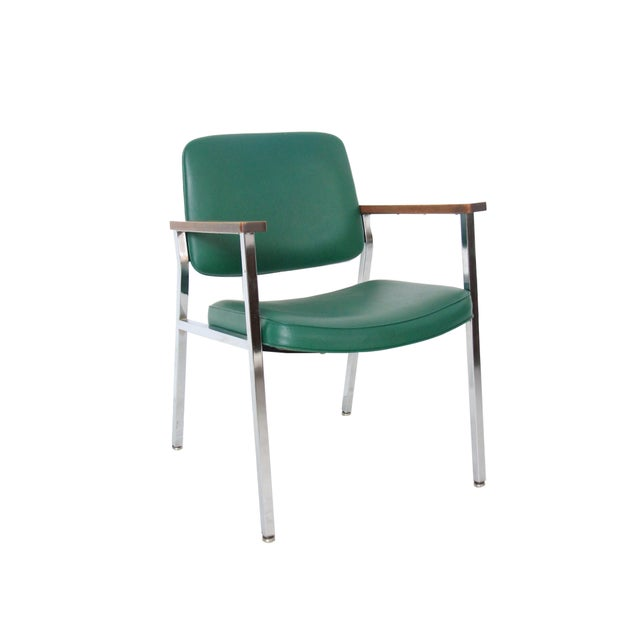 Vintage Mid-Century Industrial Green Vinyl Arm Chair - Image 1 of 6