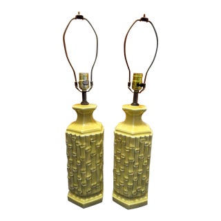 A Pair Vintage Palm Beach Regency Faux Bamboo Yellow Ceramic Table Lamps For Sale