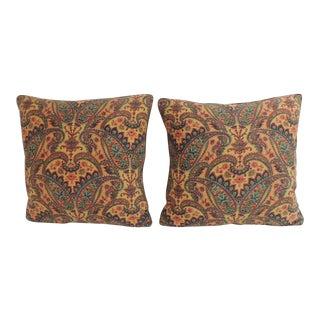 Pair of Vintage Colorful Paisleys French Linen Textile Decorative Pillows For Sale