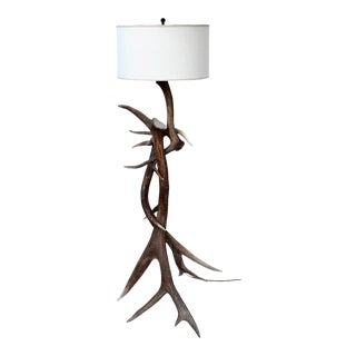 Vintage Elk Antler Floor Lamp For Sale
