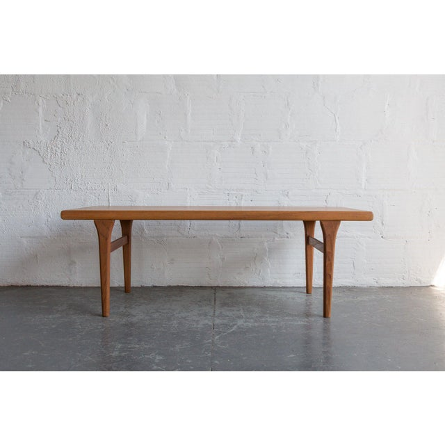 In the style of Johannes Andersen teak coffee table Origin: Denmark Please contact our team with any questions prior to...