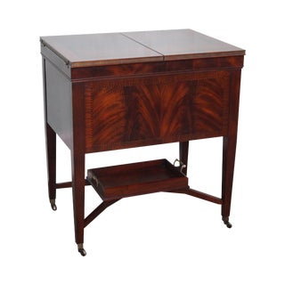 John Widdicomb Flame Mahogany Flip Top Bar Cabinet Server For Sale