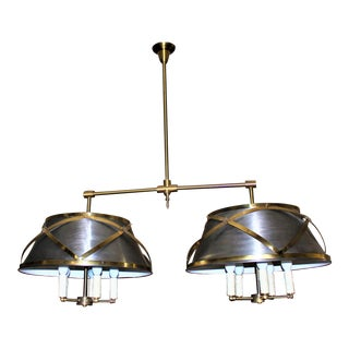 Mid-Century Modern Brass and Steel Custom Double Chandelier For Sale