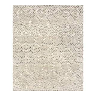 Stark Contemporary Moroccan Ivory Wool Rug - 8′ × 10′