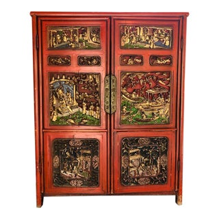 19th Century Antique Chinese Wedding Cabinet For Sale