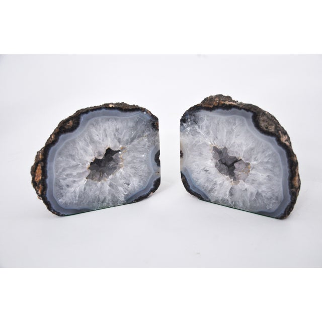 1990s Boho Chic Elegant Quartz Geode Bookends - a Pair For Sale In Cleveland - Image 6 of 6