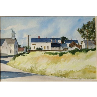 20th Century Realist Judith Biehler Watercolor – Mendocino, California For Sale