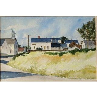 20th Century Realist Judith Biehler Watercolor – Mendocino, California For Sale