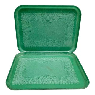 Vintage Acrylic Turquoise Cafeteria Serving Trays For Sale
