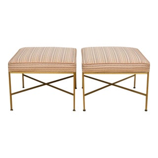 Paul McCobb Brass Ottomans With Original Fabric - A Pair For Sale