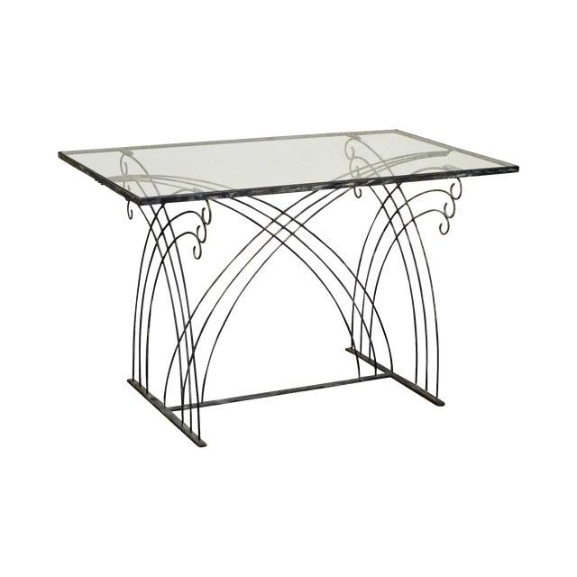 Art Deco Vintage Studio Wrought Iron Glass Top Patio Console Table For Sale