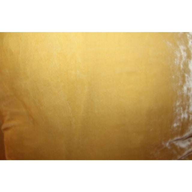 1940s Pair of Golden Yellow Velvet Pillows For Sale - Image 5 of 8