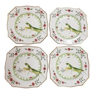 """Porcelain Lou Rota """"Nature Table"""" Praying Mantis Bug Plate - Set of 4 For Sale"""