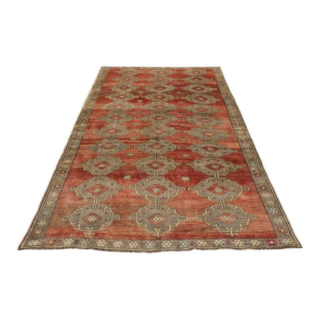 Red Modern Traditional Vintage Turkish Oushak Rug With Jacobean Style, 07'06 X 11'04 For Sale - Image 8 of 10