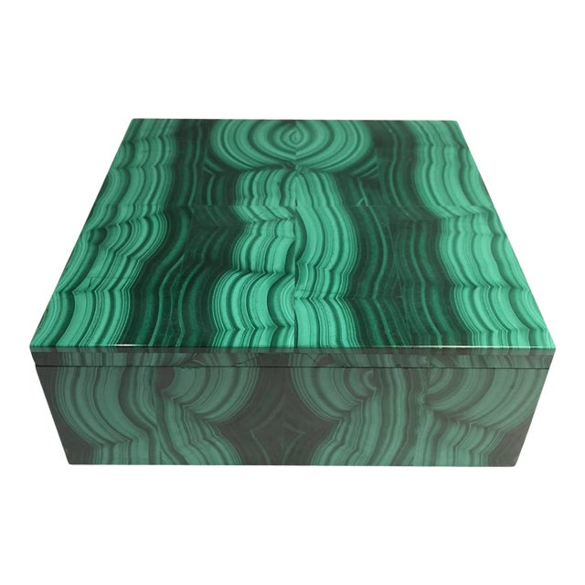 Large Square Bookmatched Malachite Box with Removable Lid Made in India For Sale