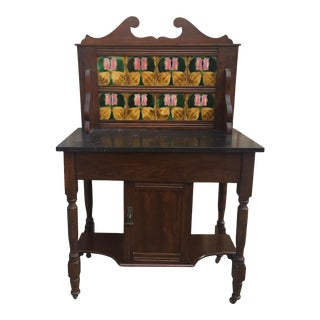 Antique Victorian Washstand Marble With Tile Backsplash For Sale