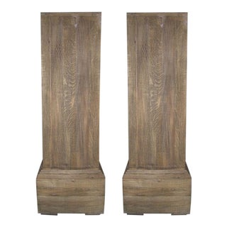Pair of Tall Rustic Wooden Pedestals For Sale