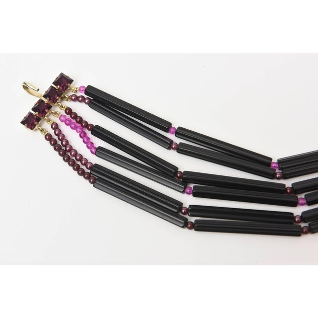 French Yves Saint Laurent Rare Black and Purple Glass 6 Strand Necklace Vintage For Sale - Image 3 of 11