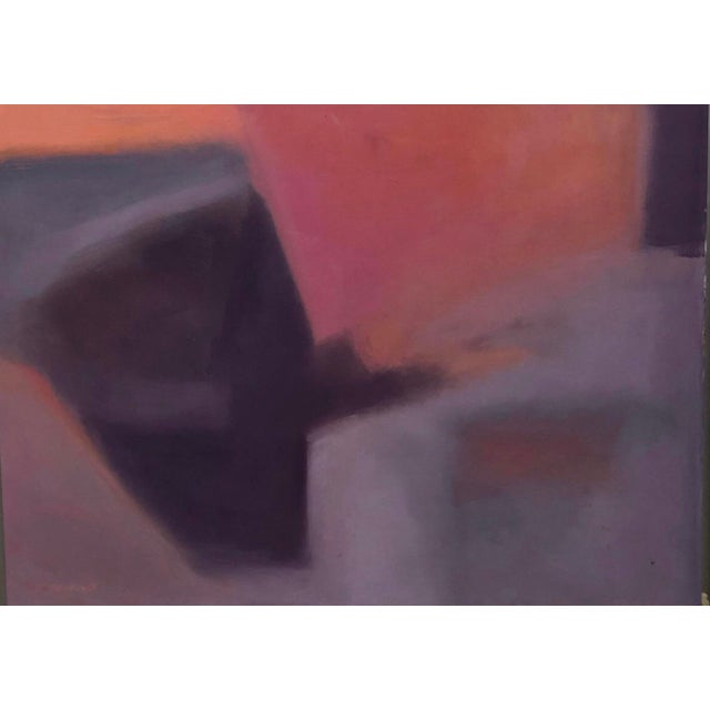 """Abstract 1970s """"Beginnings"""" by Ellen Reinkraut Original Abstract Expressionist Painting For Sale - Image 3 of 8"""