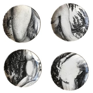 "Piero Fornasetti ""Adamo"" & ""Eva"" Transfer Printed Ceramic Coasters- Set of 4 For Sale"