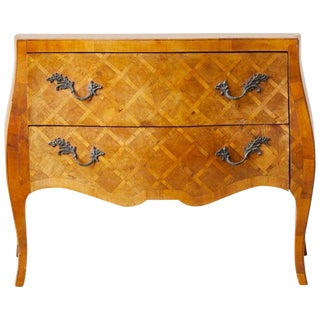 Italian Burl Parquetry Inlay Bombe Commode Chest For Sale
