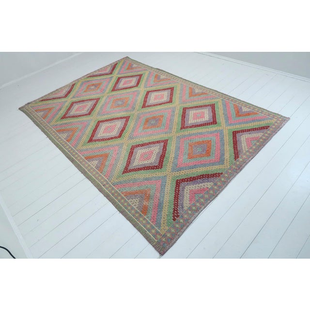 Beautiful vintage turkish kilim made pure handspun wool and dyed naturally. Beautiful pastel colors. this vintage Cicim...