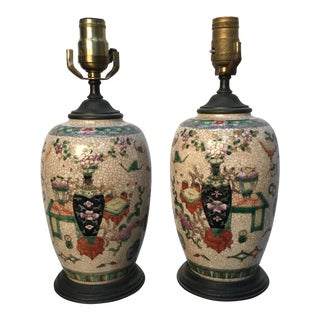 19th Century Antique Asian Hand Painted Table Lamps - a Pair For Sale