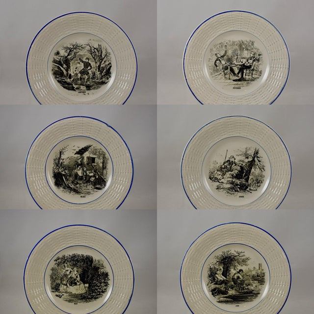 French Provincial Digoin Sarreguemines French Transferware 'Mois De L'année' Plates, S/12 For Sale - Image 3 of 11