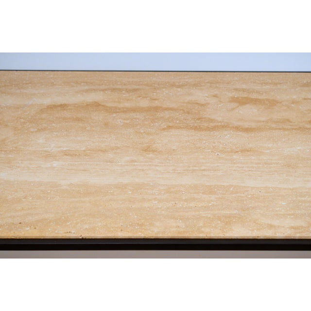 Long 'Diagramme' Wrought Iron and Travertine Coffee Table by Design Frères For Sale In Los Angeles - Image 6 of 7