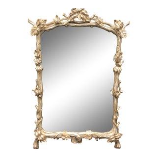 Prospr Carved Silver-Leaf Designer Mirror W Grapevine & Leaf Mirror W Antiqued Glass For Sale