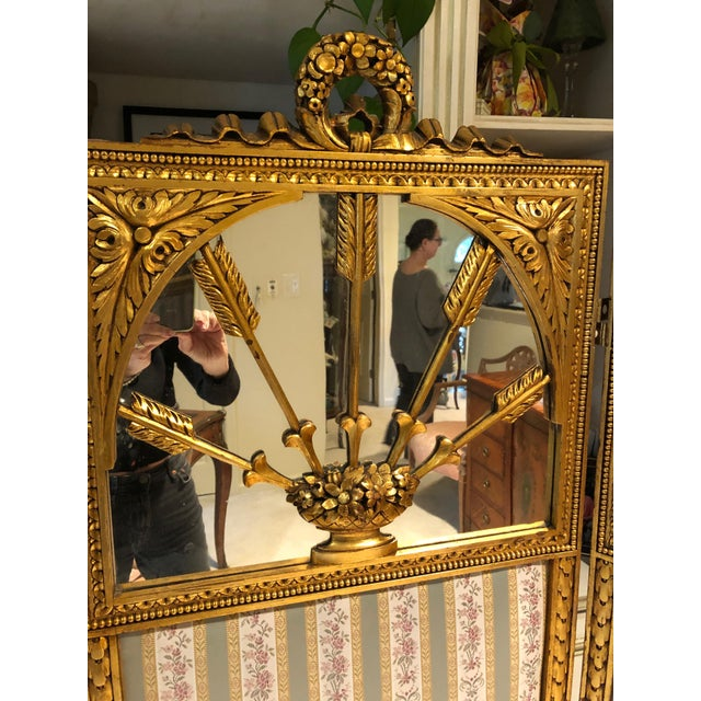 French Neoclassical Revival Giltwood Mirror and Upholstered 3-Panel Screen For Sale - Image 4 of 13