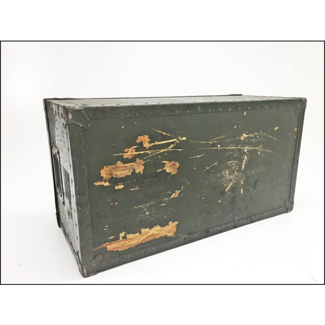 Vintage Industrial Drab Green Military Chest W Removable Lid For Sale - Image 10 of 12