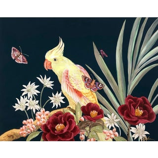 """Tropical Therapy"" Chinoiserie Parrot Painting by Allison Cosmos For Sale"