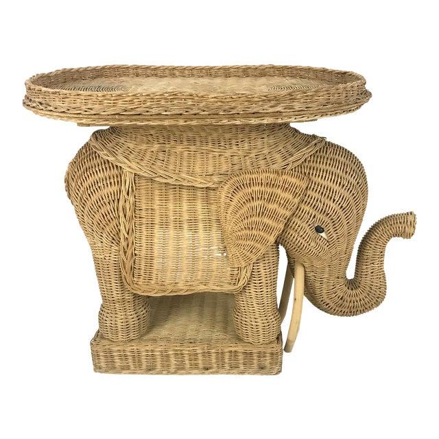 Vintage Woven Wicker Rattan Elephant Side Table - Image 1 of 7