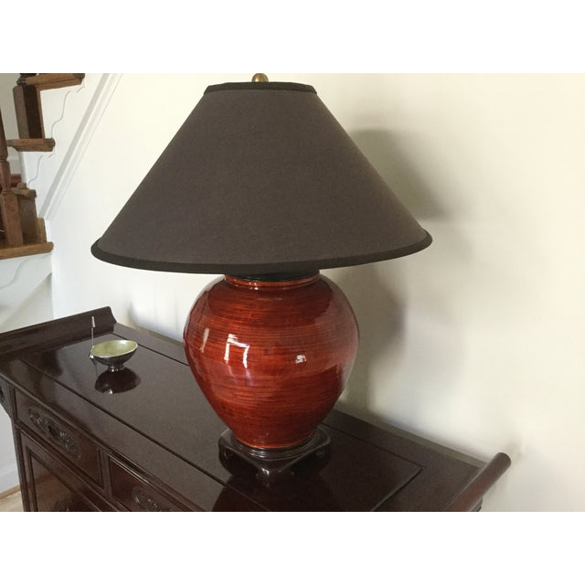 Gumps Red Bamboo Table Lamp - Image 5 of 5